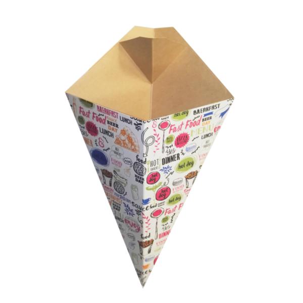 Упаковка для картофеля фри конусная с отделением под соус