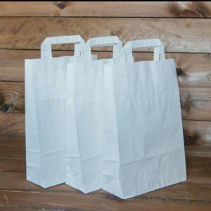 Белый бумажный пакет с плоской ручкой
