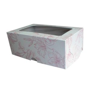 """Коробка для 6 капкейков """"Гибискус"""" с окном"""