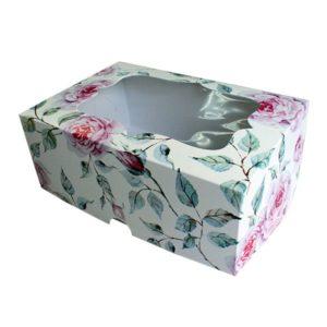 """Коробка для 6 капкейков """"Роза"""" с окном"""