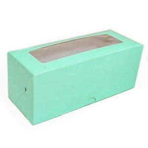 Коробка для макарун с окном. Мятный верх, белый низ.