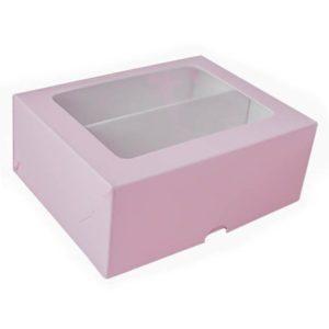Коробка для макарун с окном. Розовый верх, белый низ.