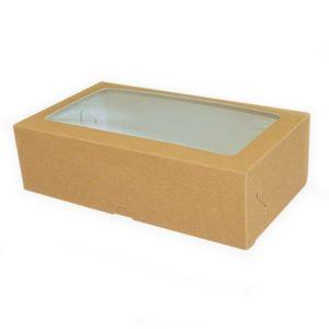 Коробка для макарун с окном. Крафт-премиум.