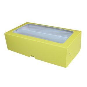 Коробка для макарун с окном. Лимонный верх, белый низ.