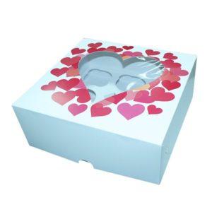 """Коробка для 9 капкейков с окном """"Сердечки"""""""