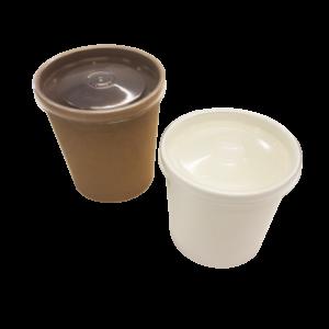 Белая упаковка для супов, каш, мороженого с пластиковой крышкой