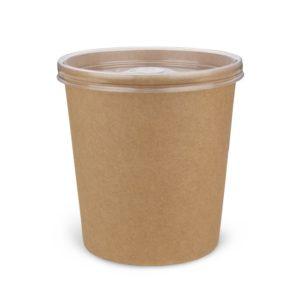 Крафтовая упаковка для супов, каш, мороженого с пластиковой крышкой
